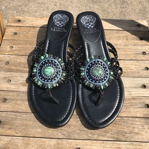 NWOT Vince Camuto Braided Leather Beaded Sandals